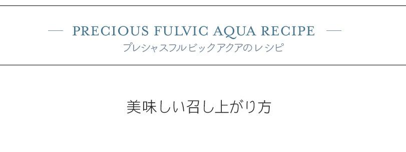 PRECIOUS FULVIC AQUA RECIPE プレシャスフルビックアクアのレシピ
