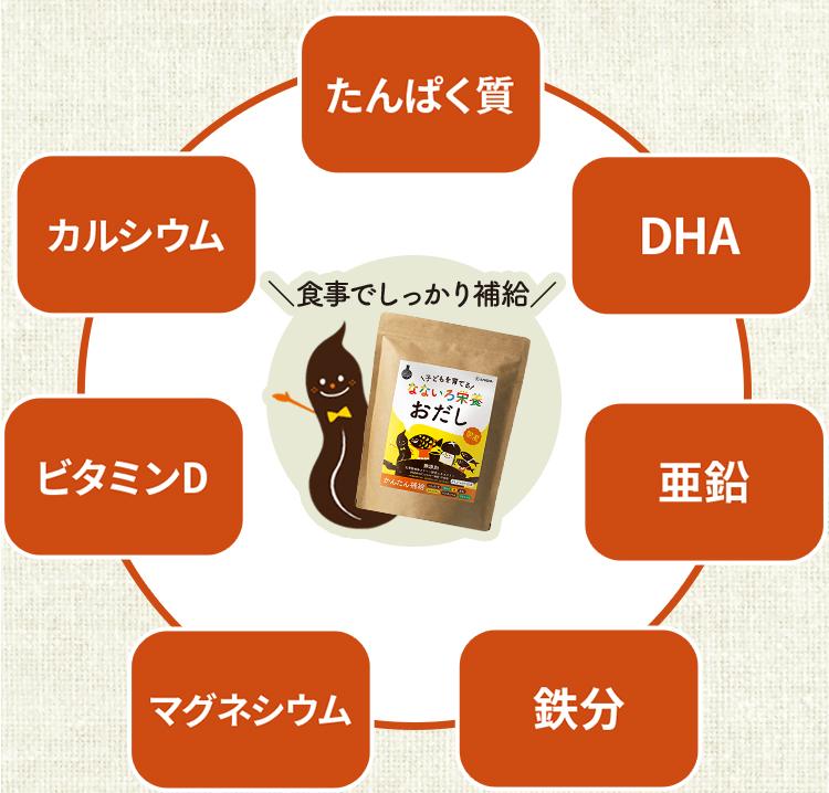たんぱく質 DHA 亜鉛 鉄分 マグネシウム ビタミンD カルシウム