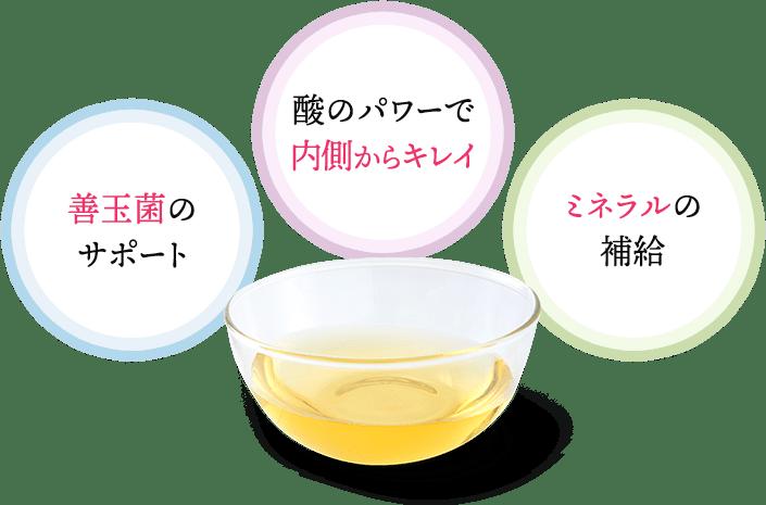 善玉菌のサポート 酸のパワーで内側からキレイ ミネラルの補給