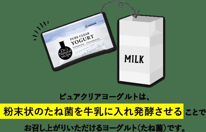ピュアクリアヨーグルトは、粉末状のたね菌を牛乳に入れ発酵させることでお召し上がりいただけるヨーグルト'(たね金)です。